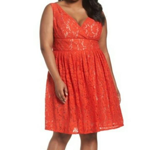 Adrianna Papell Plus Size Orange Dresses